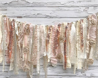 Glitz Collection:  Champagne Rose Gold Shabby Banner