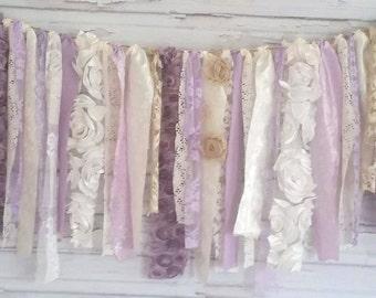 Purple Shabby Chic Rag Tie Banner Garland!