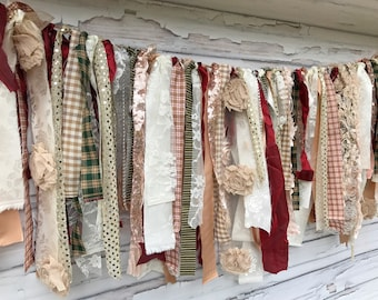 Glitz Collection: Christmas Holiday Shabby Banner Garland