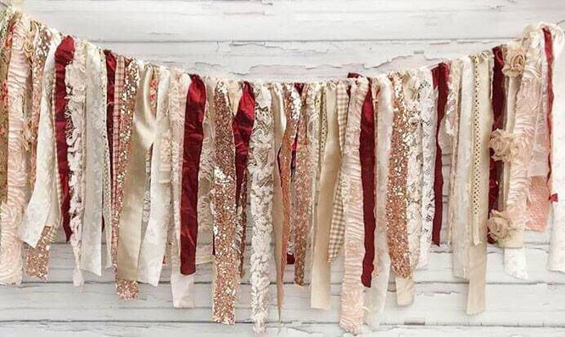 Glitz Collection Christmas Cranberry Rose gold Shabby Banner