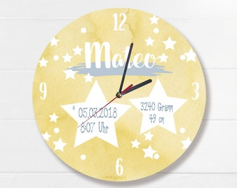 Wall clock stars with names yellow starry sky