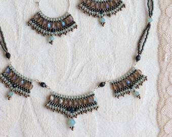 Lustrous Turquoise Necklace, Olive Green Beaded Necklace
