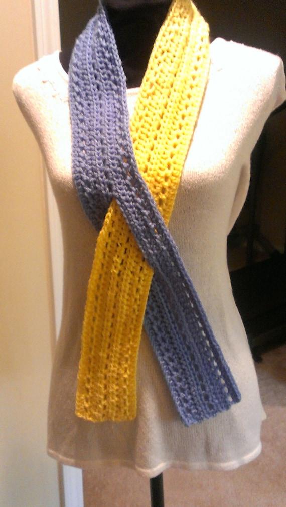 Free Shipping Handmade Crochet Scarf Blue Yellow Awareness Etsy