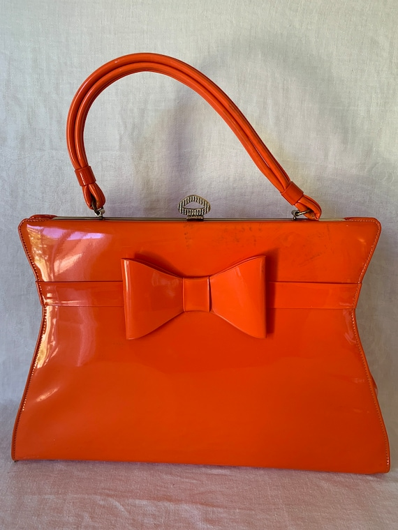 1960's Mod Orange Patented  Leather Handbag