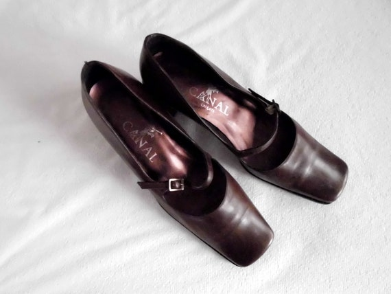 Vintage leather shoes, brown leather square toe sh