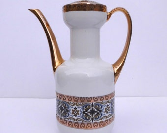 vintage coffee pot- ceramic coffee pot. Blue and gold