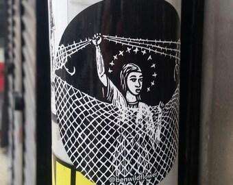 Mary at Border Fence Sticker