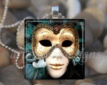 ORNATE THEATER MASK Theatre Feathers Drama Mardi Gras Glass Tile Pendant Necklace Keyring