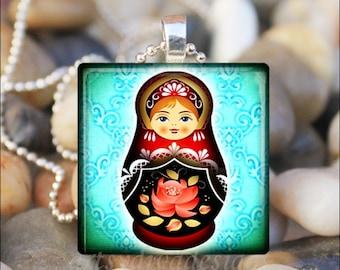 RUSSIAN NESTING DOLL Matryoshka Babushka Russian Stacking Dolls Glass Tile Pendant Necklace Keyring - Aqua Color