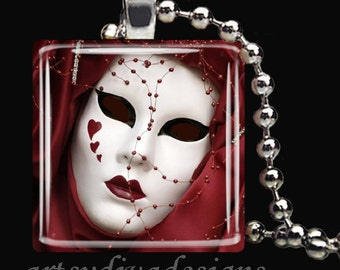 ORNATE THEATER MASK Theatre Hearts Drama Mardi Gras Glass Tile Pendant Necklace Keyring design 2