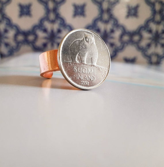 Birds ring Copper and part of a coin South Africa Resizeble ring