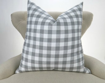 Gray Plaid Pillow Cover -MANY SIZES- Check Pattern, Gingham Print, Euro Sham, Lumbar, Decorative Throw, Storm Grey Buffalo Premier Prints