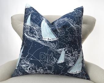Nautical Pillow Cover -MANY SIZES- Navy Blue Sailing Ships Charts, Decorative Throw, Euro Sham, Sail Away Vintage Indigo by Premier Prints