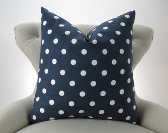 Navy and White Polka Dot Pillow Cover -MANY SIZES- blue nautical decorative throw euro sham custom couch cushion premier prints 18x18 28x28