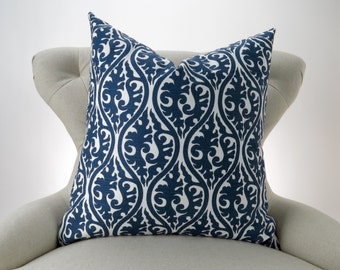Navy Throw Pillow, Euro Sham, Accent Pillow, Decorative Cushion, Navy Blue & White Decor -MANY SIZES- Kimono Pattern by Premier Prints