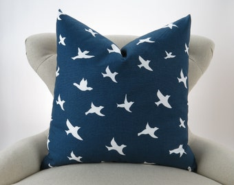 Navy Birds Pillow Cover, Euro Sham, Cushion Cover, Navy Blue and White Decor, Throw Pillow -MANY SIZES- Bird Silhouette by Premier Prints