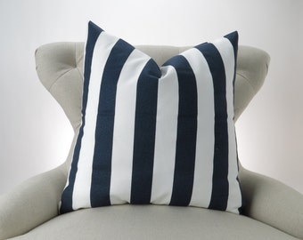 Navy Stripe Pillow Cover, Accent Pillow, Euro Sham, Decorative Cushion, Nautical, Bold -MANY SIZES- Navy Blue & White Canopy, Premier Prints
