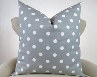Throw Pillow, Decorative Cushion, Euro Sham, Accent Pillow, Gray White Polka Dot Pillow, Grey Decor -MANY SIZES- Storm Premier Prints
