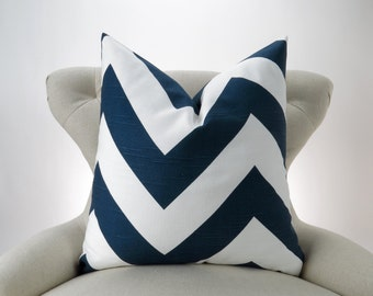 Navy Chevron Pillow Cover -MANY SIZES- Navy Blue & White Zigzag Throw Pillow, Cushion Cover, Euro Sham, Zippy Slub Premier Prints, FREESHIP