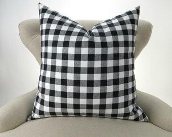 Black Gingham Portable Crib Pillow Sham Size 11 x 14 inches