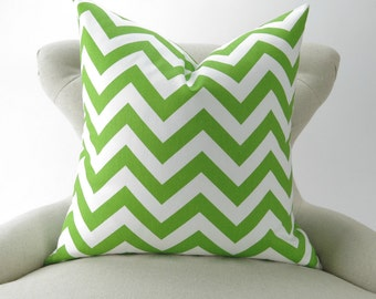 Throw Pillow Cover, Lime Green Chevron Pattern, Euro Sham, Accent Pillow, Cushion Cover, -MANY SIZES- Zigzag Chartreuse Premier Prints