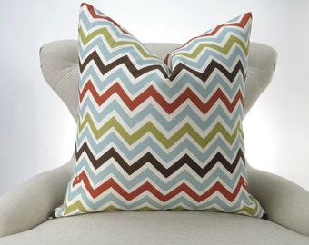 Blue Brown Chevron Pillow Cover -MANY SIZES- orange green Zigzag Zoom zoom Village decorative throw euro sham cushion contemporary 28 22 18