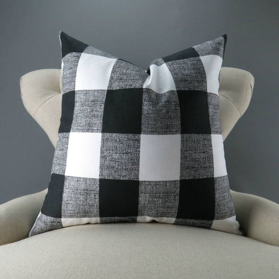 black plaid pillow cover many sizes big check pattern euro. Black Bedroom Furniture Sets. Home Design Ideas