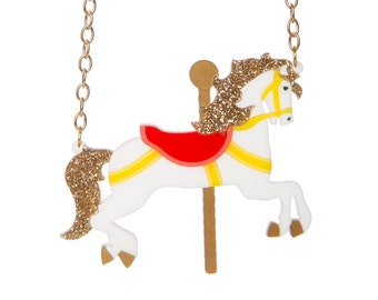 Carousel Horse Necklace - laser cut acrylic