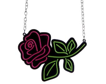 Neon Rose necklace - laser cut acrylic
