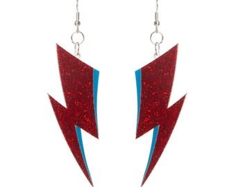 Aladdin Sane lightning bolt earrings - laser cut glitter acrylic