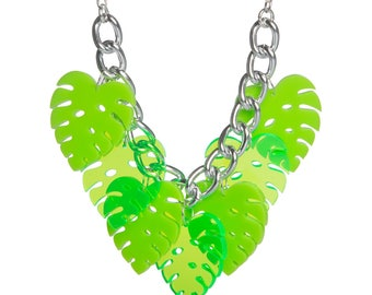 Monstera Leaf necklace - laser cut acrylic