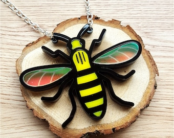 Manchester Bee necklace - laser cut acrylic
