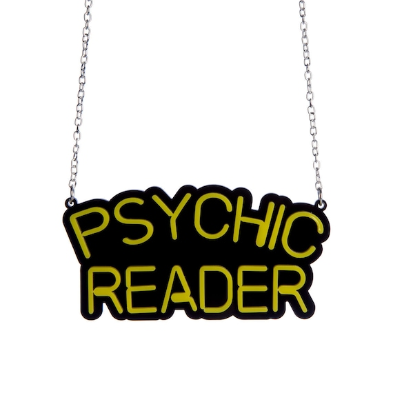 Psychic Reader neon sign necklace laser cut acrylic
