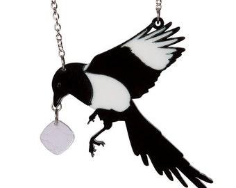 Magpie necklace - laser cut acrylic