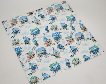 vintage hallmark bridal shower wrapping paper gift wrap pretty flower carts 1950s 1960s
