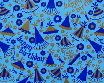 Vintage Dennison Mid-Century BIRTHDAY Gift Wrap - Wrapping Paper - PARTY HATS - 1950s