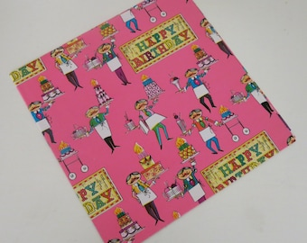 Vintage Dennison Gift Wrap - Wrapping Paper - HAPPY BIRTHDAY - Soda Fountain Men with Cakes - 1960s