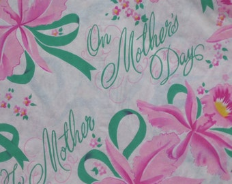 Vintage Dennison MOTHER'S DAY Gift Wrap - Wrapping Paper - Pink FLOWERS - 1940s 1950s
