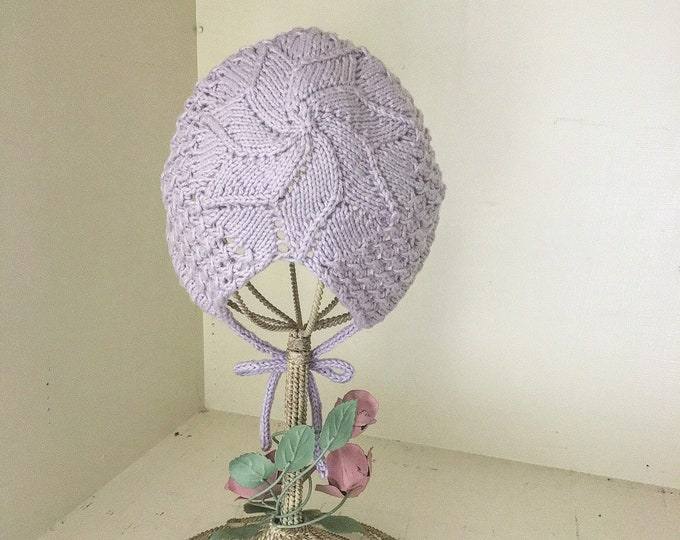 Star Baby Bonnet, Knitted Star Bonnet