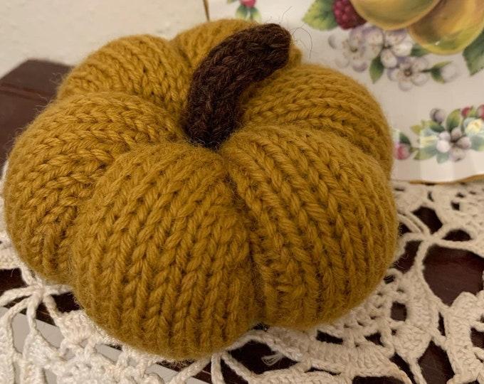 Knitted Pumpkin, Wool Knit Pumpkin, Turmeric Knit Pumpkin, Handmade in the Pumpkin Capital of the World