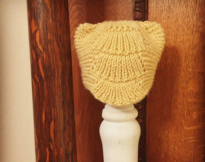 Scalloped Baby Hat with Little Ears, Knitted Baby Hat, Lacework Baby Hat, Unisex Baby Hat, 3-6 Month Hat