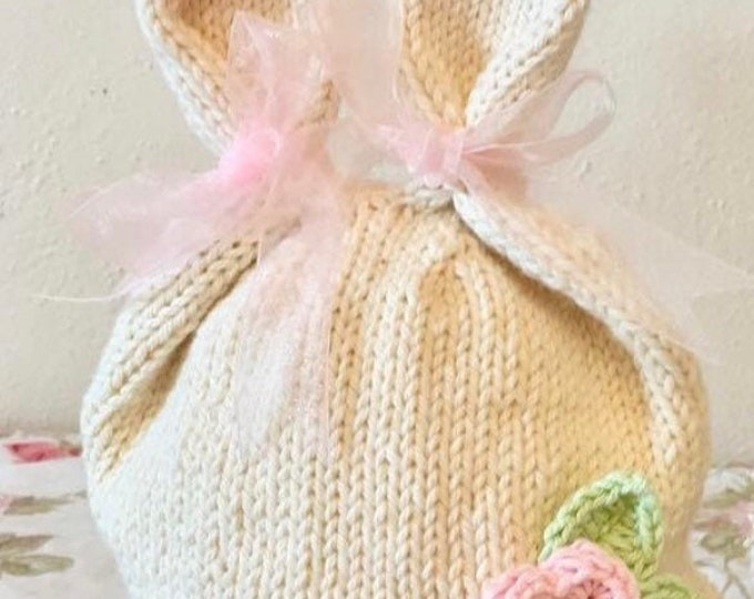 Knitted Bunny Hat, Organic Cotton Bunny Ears Hat
