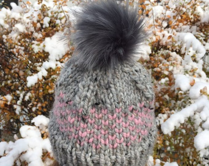 Chunky Knit Fair Isle Hat,  Grey/Pink OR Pink/Grey, Knit Hat with Faux Fur Pom Pom
