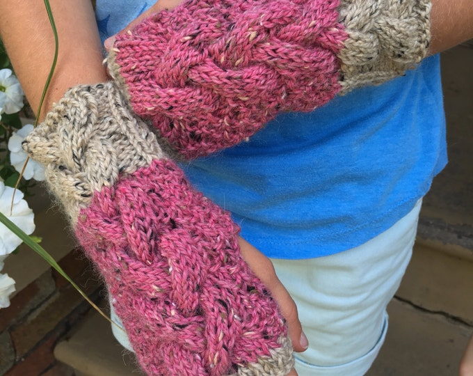Girls Cable Knit Fingerless Mitts, Size 3 to 8