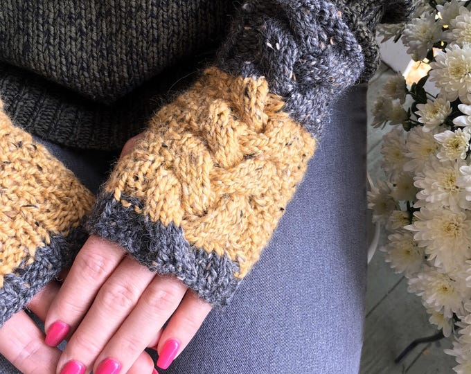 Cable Knit Fingerless Mitts, Chunky Knit Cabled Fingerless Mitts, Aplaca & Merino Wool Mitts, Tweed Mitts, Yellow and Grey Fingerless Gloves