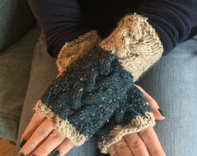 Cable Knit Fingerless Mitts, Chunky Knit Mitts, Cream & Teal Fingerless Mitts