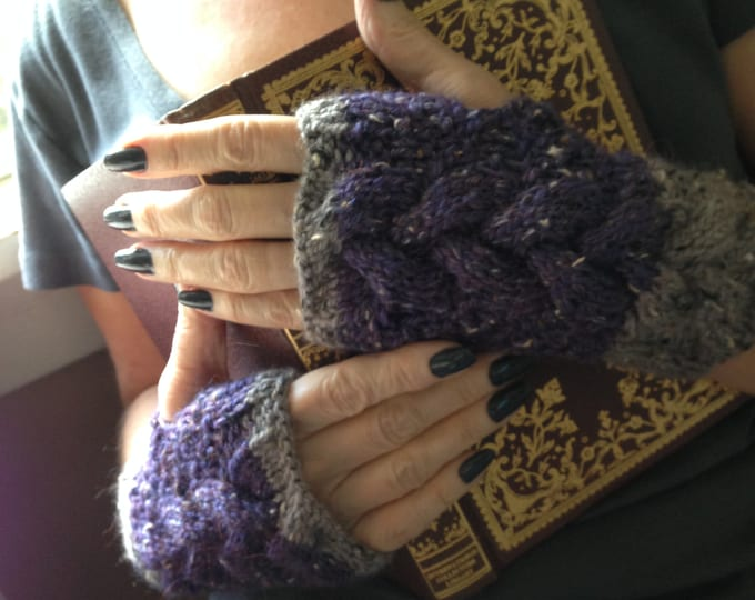 Cable Knit Fingerless Mitts, Chunky Knit Cabled Fingerless Mitts, Alpaca and Merino Wool Mitts, Purple Fingerless Gloves