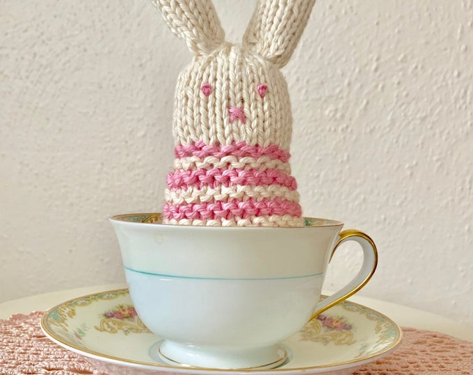 Teacup Bunny, Pink Striped Miniature Bunny, Stuffed Knitted Rabbit, Easter Bunny