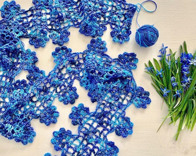 Cascading Blossoms Crocheted Lace Scarf, Blue Boho Hippie Scarf