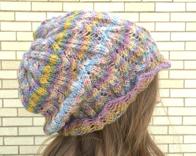 Honeycombe Knitted Lacework Slouchy Hat